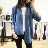 High Quality Fall 2019 Loose Tencel Cotton Long Sleeve Denim Shirt Mis Quiet Slim Mid-long Shirt