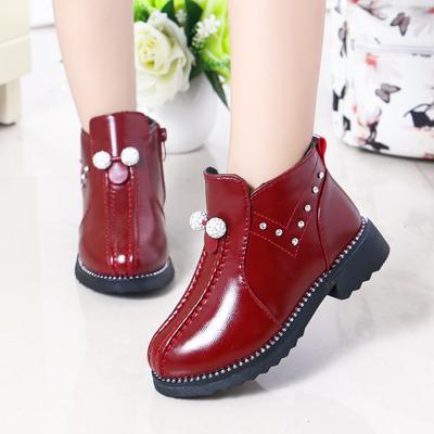 2018冬季新款加绒儿童靴子女童马丁靴中大童棉靴公主皮靴女孩短靴