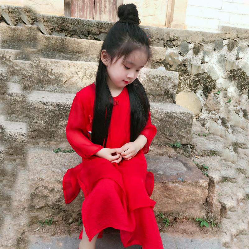 桐花坞女童旗袍春夏中国风连衣裙儿童唐装古风汉服宝宝演出服红色