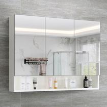 不锈钢带灯镜箱挂墙式卫生间厕所镜柜镜子带置物架壁挂浴室镜柜
