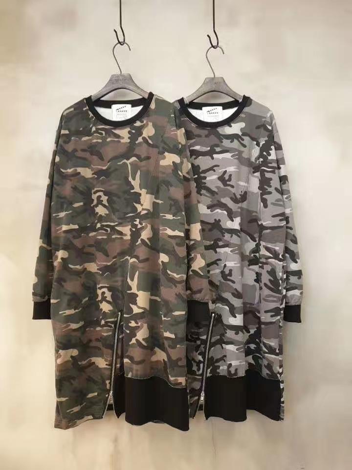 SLATE STUDIOS韩国东大门女装2019秋季新款圆领迷彩拉链短袖T恤