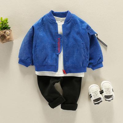 宝宝秋装男0一1-3岁新款潮男小童春秋套装蝙蝠袖三件外套婴儿衣服