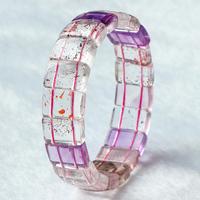 亲宝水晶异象紫发草莓晶三轮骨干手排 女款 内部共生多种矿物质