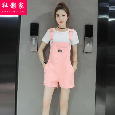 少女2018夏装新款韩版宽松短袖背带裤两件套初中高中学生时尚套装
