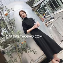 Autumn and Winter 2019 New Hepburn Skirt Korean Version Semi-high-collar Long-sleeved Black Knitted Dress Small Black Skirt