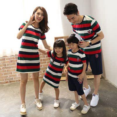 亲子装2017夏季新款韩版母女母子纯棉短袖休闲套装一家三口全家装