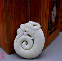 Natural jade Shaanxi Lantian jade zodiac dragon jade pendant dragon play beads pendant Yulong brand