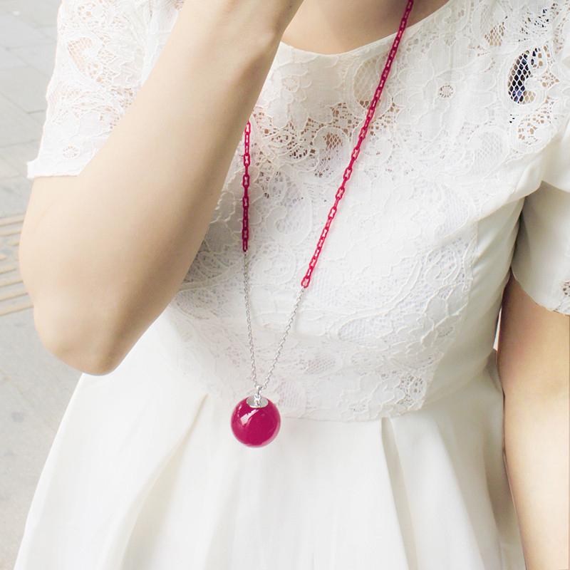韩国饰品 aznavour正品 果冻大球球长项链百搭毛衣链 女长款x135