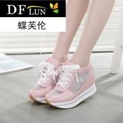 夏夏季白色内增高女鞋水钻低帮鞋松糕网纱透气运动鞋旅游休闲