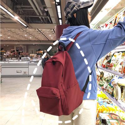 古着感少女书包女韩版高中生 校园ins超火的双肩包百搭时尚背包大