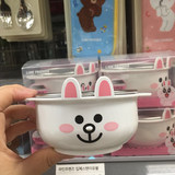 LINE FRIENDS Korean cute brown bear rice bowl can be rabbit stainless steel double insulated soup pot instant noodle bowl