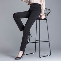 Trousers female professional overalls pants women's formal wear black trousers high waist straight suit pants autumn and winter plus velvet thick