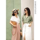 夏日果绿|褶皱肌理光泽感宽松五分袖 衬衫 damostudio新品
