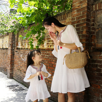 Seaside parent-child Summer national style mother and daughter dress chiffon large size Beach short-sleeved family tide