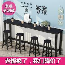 美式家用铁艺吧台桌现代简约长条桌靠墙实木餐厅吧台桌椅组合套装
