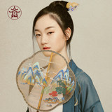 Flower Jincheng ancient wind group fan double-sided silk hand-painted Chinese wind and Han clothing group fan Palace Group fan thousands of miles of mountains map