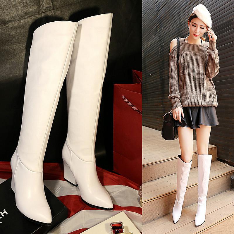 白色靴子女2019春款长款新款真皮高跟粗跟女靴高筒靴骑士靴单靴潮