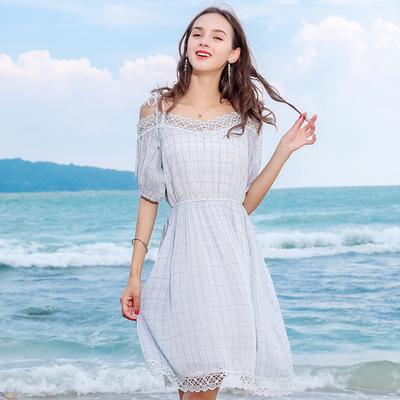 2018夏季新款品牌女装性感v领印花a字裙气质名媛雪纺连衣裙69252