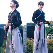 汉唐有梦原创汉服男古装侠客书生中国风黑色系学生日常套装春夏装