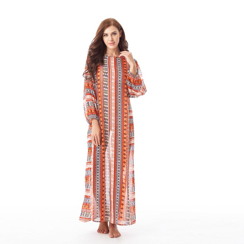 海边度假长袖宽松比基尼外搭罩衫沙滩外套防晒衣女保守长裙连衣裙