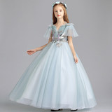Children's dress girls princess dress word shoulder piano costumes small host evening dress girls birthday wedding dress