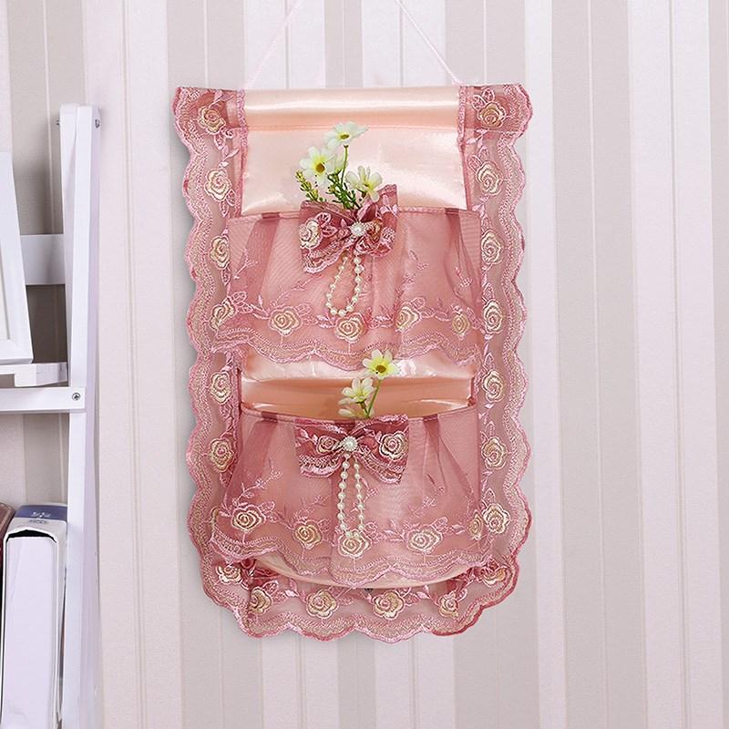 温恋 整理挂袋收纳袋墙挂式蕾丝门后挂袋三兜四兜布艺储物衣橱袋