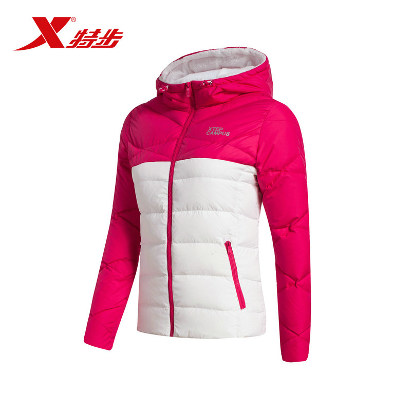 特步2018冬季新款保暖轻便连帽防风运动女羽绒服外套