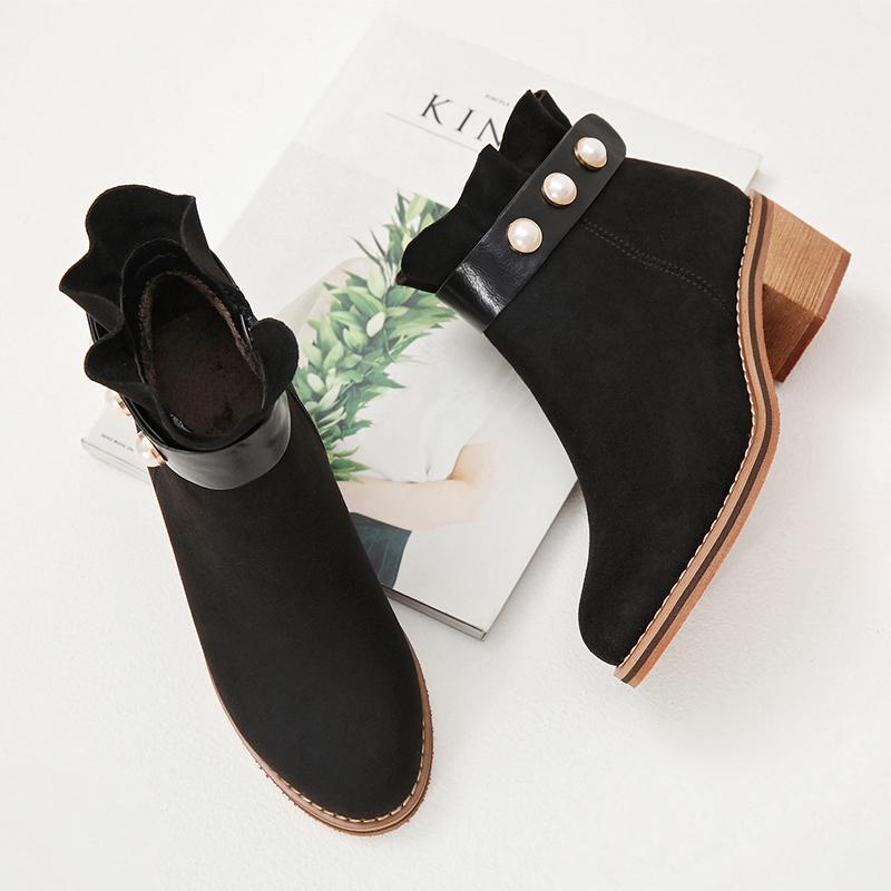卓诗尼女鞋2018冬季新款高跟短靴女马丁靴女靴子英伦风粗跟鞋子女