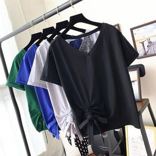 大码女装2019新款纯色短袖200斤V领半袖胖妹妹夏装宽松洋气t恤潮