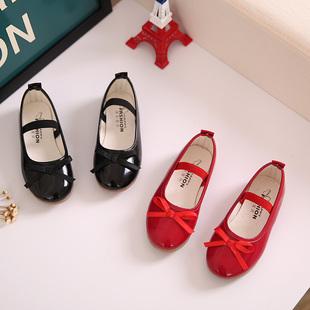 2018新款韩版女童鞋单鞋宝宝儿童皮鞋蝴蝶结豆豆鞋表演黑色公主鞋