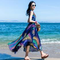2019夏季新款气质雪纺连衣裙女长款波西米亚长裙海边度假沙滩裙子
