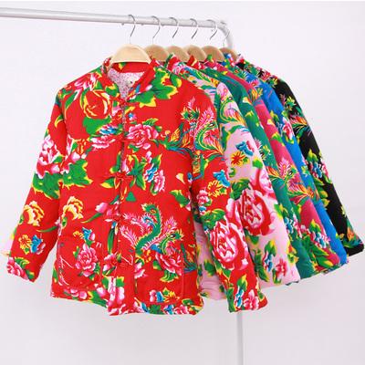 新款女装丝绵东北大花布棉衣棉服冬季修身加厚红色棉袄长袖外套
