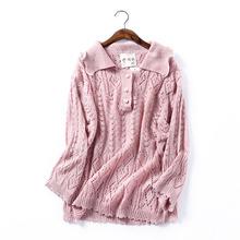 软妹针织衫 ins小清新少女 秋季气质镂空针织罩衫 包邮 时尚 J@10