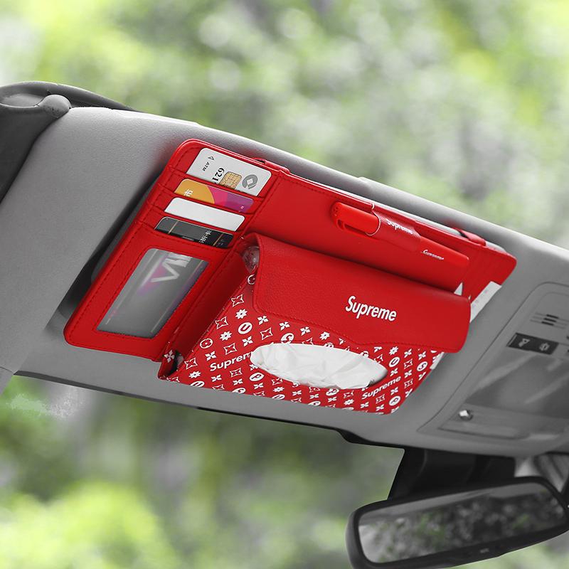 汽车遮阳板收纳眼镜夹架卡片卡包车载多功能票据驾驶证收纳袋车用