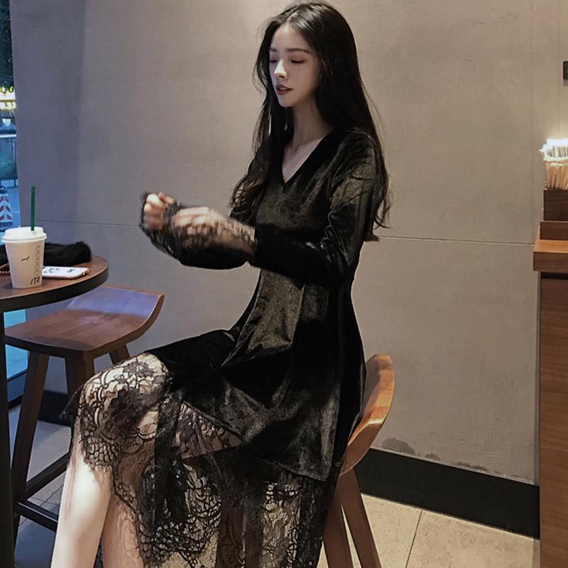 韩蕾丝裙金