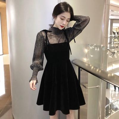 秋季长袖连衣裙新款女温柔风chic小黑裙网纱金丝绒吊带裙两件套装