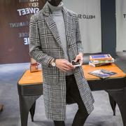毛呢子大衣男中长款秋冬英伦风帅气2018新款流行格子韩版风衣外套