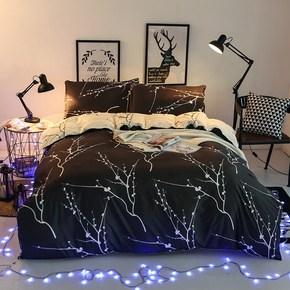潮牌个性黑床单四件套1.8米欧美风情侣创意学生单人床上1.2三件套