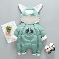 3加厚婴儿加绒连体衣冬装新生儿外出服12男女宝宝衣服冬季0-6个月