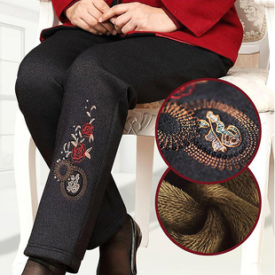 中老年女裤冬装棉裤加绒加厚女妈妈裤子宽松老年人奶奶保暖裤外穿