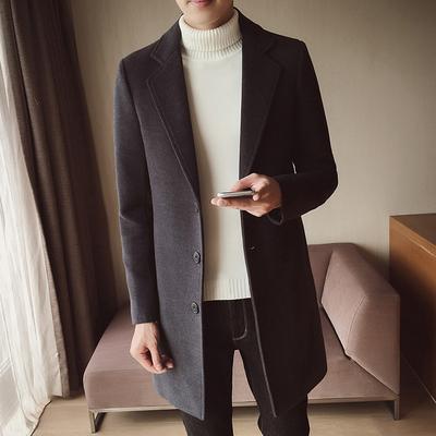 春秋季男士风衣2018新款韩版修身型中长款呢子外套男款毛呢大衣潮