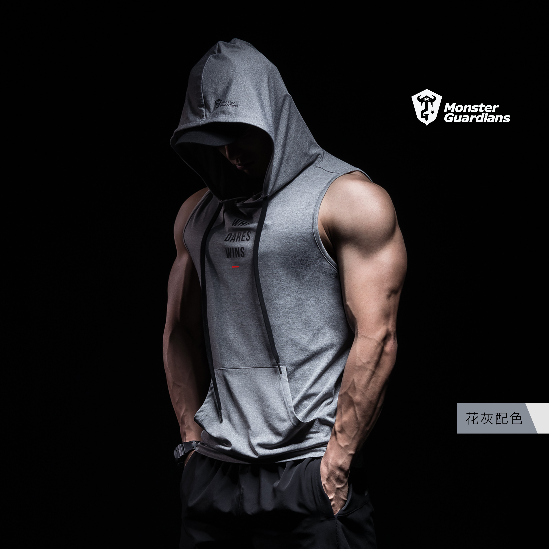 Monster Guardians男子休闲宽松透气运动健身训练无袖带帽背心