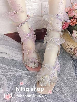 现货新款夏季手工小仙女梦幻水钻蝴蝶粗跟露趾罗马蛇形缠绕鞋凉鞋