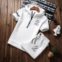 短袖男套装修身韩版夏季2018新款潮流卫衣七分短裤学生连帽两件套