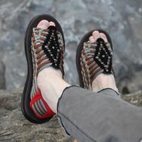 真皮2018新款一字拖英伦休闲男士手工编织拖鞋沙滩防滑韩版凉拖鞋