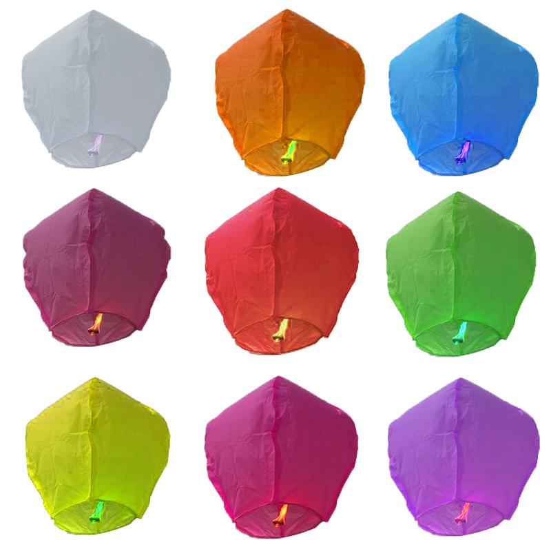 新款加厚阻燃型孔明灯创意心形许愿荷花灯厂家直销10个装批发包邮
