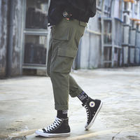 Autumn and winter ins tide brand overalls men straight loose casual pants ulzzang Korean version of the trend male plus velvet pants