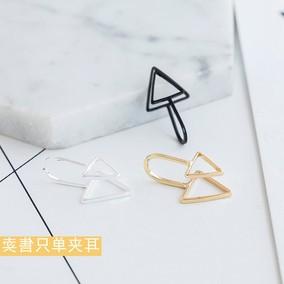 Style极简风格黑色无耳洞耳夹韩国三角形复古假耳钉女简约单个价