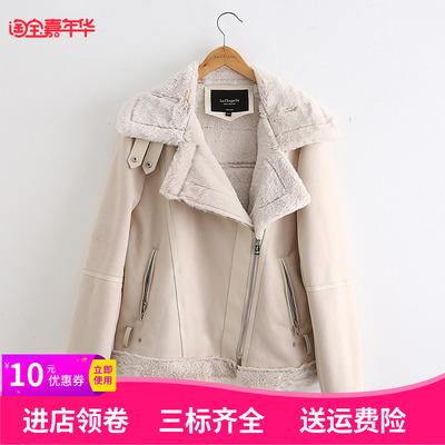拉夏贝尔2018冬装新款时尚羊羔毛加绒麂皮绒短外套女上衣10017688