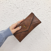 2018 new Korean version of the tide women's wallet female long section three folding multi-function buckle multi-card position hand grab bag